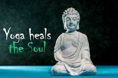 Yoga heals the soul. Meditation buddah, concept of yoga Class Exercise Strength Peaceful Healthcare Wellness and. Wellbeing Royalty Free Stock Photography