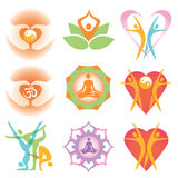 Yoga health icons symbols. Set of yoga and health colorful icons and symbols. Vector illustration Stock Image