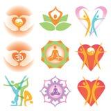 Yoga health icons symbols Stock Image