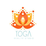 Yoga health studio logo symbol. Health and beauty care badge, spa, yoga center label Stock Image