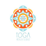 Yoga health studio logo symbol. Health and beauty care badge, spa, yoga center label Royalty Free Stock Images