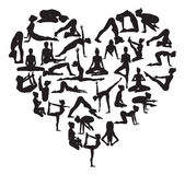 Yoga heart. A heart shape made from silhouettes in yoga or pilates poses