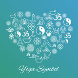 Yoga heart sign. I love vector label Stock Images