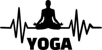 Yoga heartbeat line silhouette. Heartbeat pulse line yoga with yoga silhouette Stock Photography