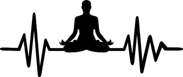 Yoga heartbeat line word. Heartbeat pulse line yoga with job title and yoga silhouette Stock Photography