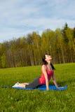 Yoga in het park. Cobra Royalty-vrije Stock Foto