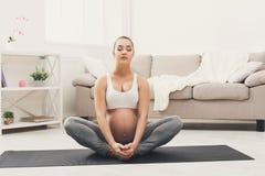 Yoga heureux de formation de femme enceinte dans la pose de lotus photographie stock libre de droits