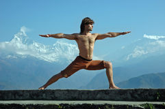 Yoga in Himalays stock image