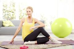Yoga at home royalty free stock photo