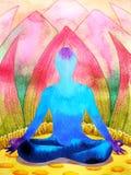 Yoga humana de la actitud del loto del chakra azul del color, mundo abstracto, universo libre illustration