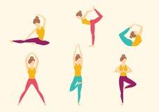 Yoga i natur också vektor för coreldrawillustration stock illustrationer