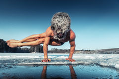 Yoga on the ice Royalty Free Stock Photos