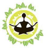 Yoga Icon Leaves. Person doing yoga in leaves sign Royalty Free Stock Photo