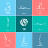 Yoga icon linear set Royalty Free Stock Photography