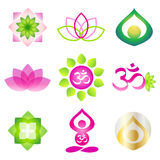 Yoga icon logo element. Collection of 9 vector isolated yoga logo elements. Lotos, om and meditation yoga person symbols on white background Stock Photography