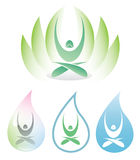 Yoga icon with lotus Royalty Free Stock Photos