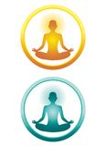 Yoga icons. Two icons of a yoga position. Yellow and blue versions Stock Image