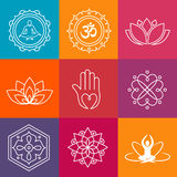 Yoga Icons. Collection of yoga icons and relaxation symbols Stock Images