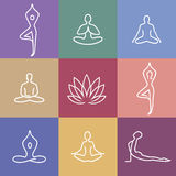 Yoga_Icons_color. Vector yoga icons and round line badges - graphic design elements in outline style or logo templates for spa center or yoga studio Royalty Free Stock Images