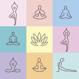 Yoga Icons color 2. Vector yoga icons and round line badges - graphic design elements in outline style or logo templates for spa center or yoga studio Royalty Free Stock Image