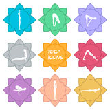 Yoga icons. Flat design. € Stock Images