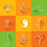 Yoga icons flet design with long shadow Royalty Free Stock Image