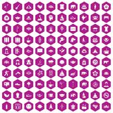 100 yoga icons hexagon violet. 100 yoga icons set in violet hexagon isolated vector illustration Royalty Free Stock Images