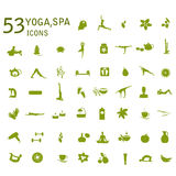 Yoga icons, massage, spa icons. Spa, yoga vector set. Set of design elements for yoga class, spa salon, massage salon. Healthy lifestyle, Health-care, sport Stock Photography