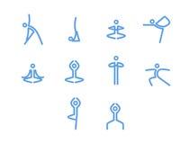 Yoga icons, mono vector symbols. Yoga, pilates set of vector symbols Royalty Free Stock Photos