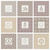 Yoga Icons on Ornament Background. Vector Illustration Set Royalty Free Stock Image