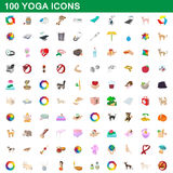 100 yoga icons set, cartoon style. 100 yoga icons set in cartoon style for any design vector illustration Stock Illustration