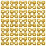 100 yoga icons set gold stock illustration