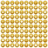 100 yoga icons set gold. 100 yoga icons set in gold circle isolated on white vector illustration stock illustration