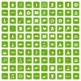 100 yoga icons set grunge green. 100 yoga icons set in grunge style green color isolated on white background vector illustration stock illustration