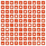 100 yoga icons set grunge orange. 100 yoga icons set in grunge style orange color isolated on white background vector illustration Stock Image