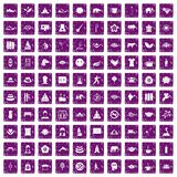 100 yoga icons set grunge purple. 100 yoga icons set in grunge style purple color isolated on white background vector illustration vector illustration