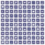 100 yoga icons set grunge sapphire. 100 yoga icons set in grunge style sapphire color isolated on white background vector illustration royalty free illustration