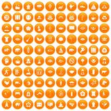 100 yoga icons set orange. 100 yoga icons set in orange circle isolated on white vector illustration Royalty Free Illustration
