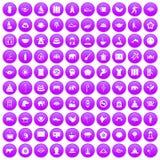 100 yoga icons set purple. 100 yoga icons set in purple circle isolated on white vector illustration stock illustration