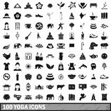 100 yoga icons set, simple style Stock Image