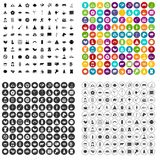 100 yoga icons set vector variant. 100 yoga icons set vector in 4 variant for any web design isolated on white stock illustration