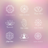 Yoga Icons - Symbols. Collection of vector yoga icons - symbols. Meditation, relaxation, wellness Royalty Free Stock Photo