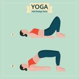 Yoga illustration, half bridge pose, yoga exercise vector Royalty Free Stock Photography