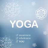 Yoga illustration with hand drawn flowers Stock Photography
