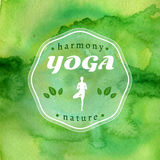 Yoga illustration. Name of yoga studio on a green watercolors background.  EPS,JPG. Royalty Free Stock Photography