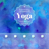 Yoga illustration. Name of yoga studio on a watercolors background.  EPS,JPG. Royalty Free Stock Image