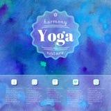 Yoga illustration. Name of yoga studio on a watercolors background.  EPS,JPG. Vector yoga illustration. Name of yoga studio on a blue watercolors background Royalty Free Stock Image
