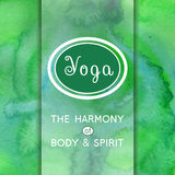 Yoga illustration. Name of yoga studio on a watercolors background.  EPS,JPG. Stock Image