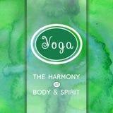 Yoga illustration. Name of yoga studio on a watercolors background.  EPS,JPG. Vector yoga illustration. Name of yoga studio on a green watercolors background Stock Image