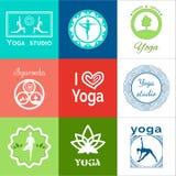 Yoga illustration. Set of yoga logos. EPS,JPG. Set of yoga logos. Vector yoga illustration. Set yoga icons. Elements of yoga poster. Logo graphics and logo Stock Photo